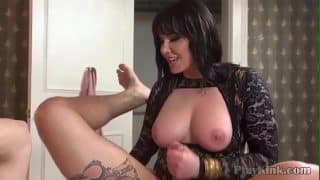 Busty domina pegging her slaves ass